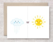 Rain or Shine Valentine Card, Anniversary Card - I'll Be There - Clouds & Sunshine Friendship Card, Get Well Card, Recycled Card