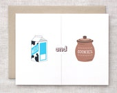 Funny Valentine Card For Him - Milk & Cookies, We Were Meant for Each Other - Cute Anniversary Card, I Love You Card, Recycled Card