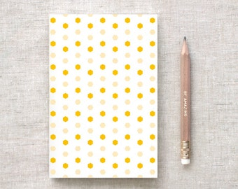 Stocking Stuffer Hexagon Patterned Notebook Set, Gifts Under 10 - Honey, Wine OR Cyan - Recycled Journal Wedding Favors - Geometric Notebook