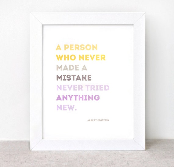 Typographic Print - 8x10 - Graduation Gift, Einstein, Mistake Quote - Color Block Yellow, Brown, Purple