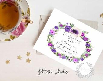 Purple Watercolor Floral Wreath Will you be my Bridesmaid card, bridesmaid proposal, bridesmaid invitation, wedding party card, bridal party