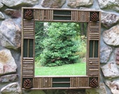 Twig and Pine Cone Mirror In Pine Green Crackle Finish