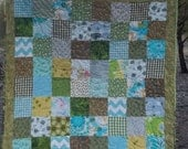 Blue and Green Simple Scrappy Baby Quilt