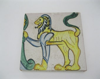 Caltagirone Tile from Foot of Steps with Lions Italian