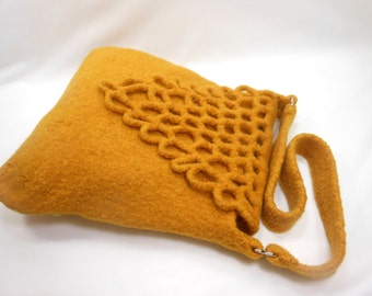 Hand Knit Felted Wool Handbag Fiber Art Purse with Crochet Open Work Flap in Gold