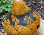 Hand Painted Kettle Gourd Birdhouse with floral drawings