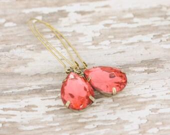 NEW Coral Pink Dangle Earrings - Bridesmaid Earrings - Rhinestone Earrings - Bridal Earrings - Salmon Wedding -Peach Wedding -Vintage Mint