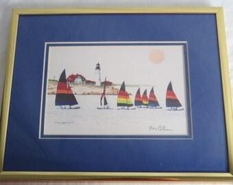 Portland Headlight Sailing Regatta Print Signed by Author R.N. Cohen Framed