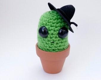 Cactus Amigurumi Plant Boris Prickles Green Cozy Cactus Mustache, Cowboy Hat, Cute Cactus
