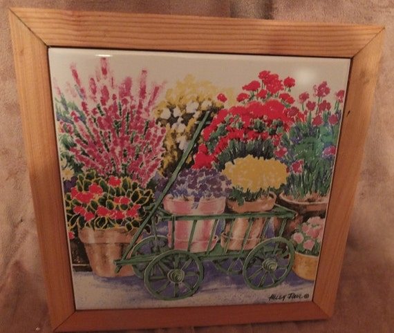 Helen Paul Watercolors Flower Cart Ceramic Tile Trivet