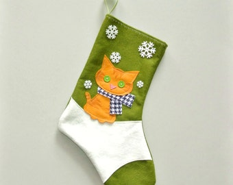 Orange Tiger Cat Kitten Personalized Christmas Stocking by Allenbrite Studio