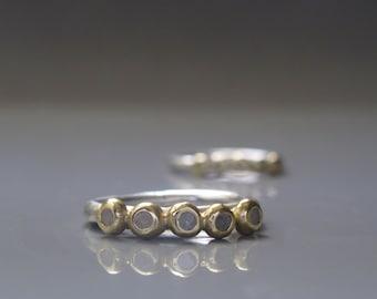Rough cut diamond ring, Raw diamond ring, Diamond stack ring, Alternative engagement ring