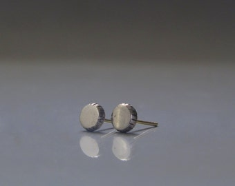 Solid gold stud earrings, White gold stud earrings, Minimalist studs, Recycled gold earrings
