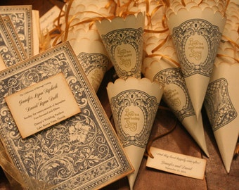 Wedding Favor Cones, LOVE STORY, Once Upon A Time, Petal Toss Cone, French, Shabby Chic, Christian, Gold, Personalized, Fairytale, Lavendar