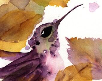 Hummingbird Art Print, Hummer in the Autumn Leaves, 8 x 10 Bird Art