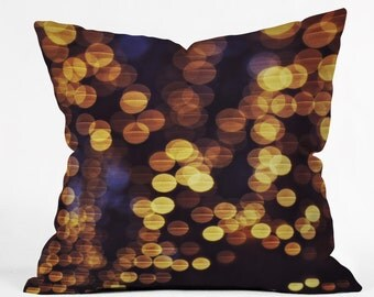 Throw Pillow. Dorm Decor.  Living Room Decor. Bokeh. Sparkling Lights. Gold and Navy Home Decor. Night. Glam. Girly. Glow. Pretty