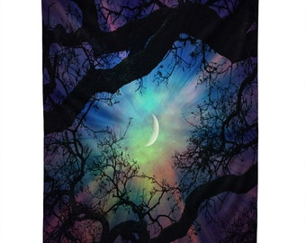 Wall Tapestry. Dorm Wall Decor. Large Wall Art. Starry Night Sky. Stars and Moon Home Decor. Navy Purple. Dreamy. Trees. Surreal Sky. Green