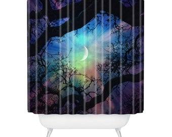 Shower Curtain. Bathroom Art.  Starry Night Sky. Stars and Moon Home Decor. Navy Purple. Dreamy. Trees. Surreal Sky. Green