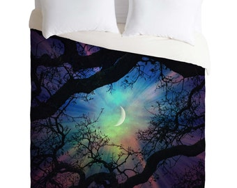 Duvet Cover. Bedding.  Bedroom Decor. Starry Night Sky. Stars and Moon Home Decor. Navy Purple. Dreamy. Trees. Surreal Sky. Green