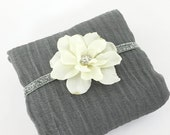 Grey Cheesecloth Cheese Cloth Wrap with Ivory Headband Baby Newborn  Portrait Prop Photography Prop Baby Shower Gift