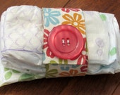 Sale Moda Orange, Pink, Aqua and Green Hibiscus Flower Diaper Strap with Hot Pink 2 inch Button