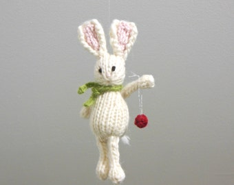 Bunny Christmas Ornament, Knit Animal Holiday Ornament, White Bunny Rabbit Ornament, Holiday Decor, Knit Christmas Ornament, Animal Ornament
