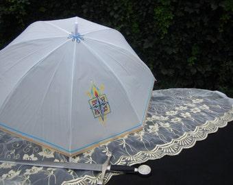Second Line Parasol, Rain or Shine, Costume Accessory, Parasol Name: Royal Fire, Parasol, Parasols, Pretty Parasols, Handpainted Parasol
