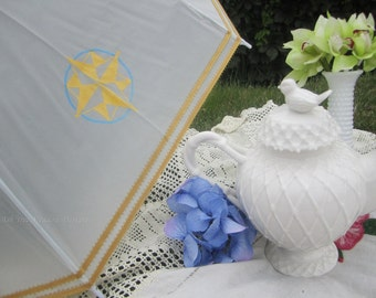 Nautical Parasol, Summer Tea Party Parasol, Handpainted, Ship Theme, Compass Rose, Gold and Blue Parasol