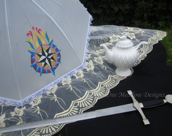 Vibrant Painted Parasol, Rain or Shine, Parasol Name: Journey to a New World, Parasol, Parasols, Victorian Parasol, Lace Parasol, Custom