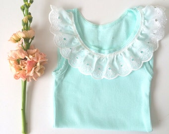 Lace Collar Baby Tank in Mint