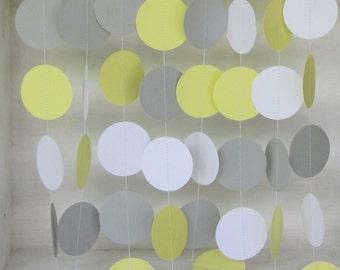 Baby Shower  Garland- Birthday Garland-Cardstock Garland-10 ft.- Yellow, Gray and White-Gender Neutral