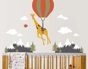 Hot Air Balloon Giraffe Wall Decal - Nursery Wall Decor