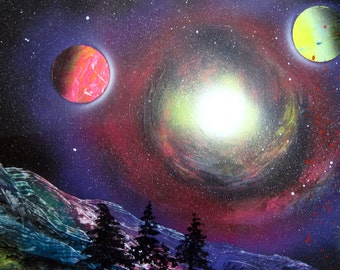 "Spray Paint Art Original Abstract Space Landscape Poster 22"" x 14"""