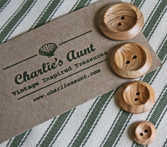 Plain shiny wooden two-hole buttons in a choice of four different sizes