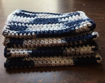 4 large dish cloths/ dish rags/ wash cloths made of 100% cotton yarn in Cool Grey Ombre Color