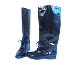 vtg 80s sleek BLACK lace up EQUESTRIAN BOOTS 8 leather flats boho riding tall knee high pirate