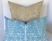 Lacefield Bombay Ikat Mist and Script Pillow Covers