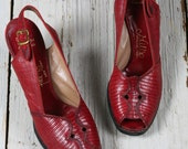 1940s platforms/ 40s red leather heels/ size 7.5