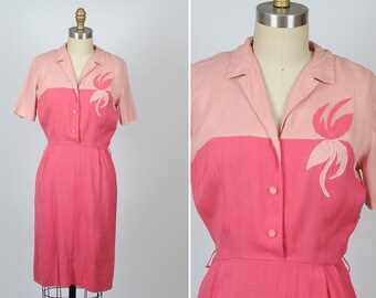 1950s dress/ 50s pink cotton dress/