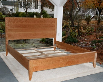 Solid Hardwood Low Sleek Platform Queen Bed with raised drawers for Cyrus
