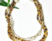 Vintage Beaded 5 Strand Necklace Choker - Tortoise Lucite Beads / Goldtone Links - MOD 60's Japan - estate sale jewelry - Holiday Gift