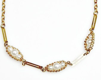 SARAH COVENTRY Necklace ~ Goldtone Chains Links / Faux Pearls Beads ~ Delicate / Designer Signed / Gift For Her ~ Estate Sale Jewelry
