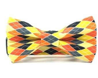 Argyle Dog Collar   Colorful Halloween Argyle Collar and Bow Tie Set   Halloween Dog Collar and Bow Tie Set   Boy Dog Collar