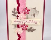 Happy Birthday Greeting Card, Birthday, Flowers, Leaves, Red, Pink, Taupe, Vintage, Embossed, Pearls, For Her, Stamped, Blank Inside