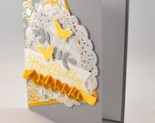 Happy Birthday Greeting Card, Birthday, Butterflies, Leaves, Yellow, Grey, Gray, Patterns, Ribbon, Doily, For Her, Stamped, Blank Inside