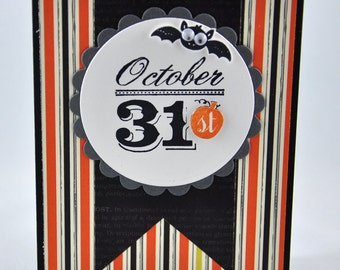 Halloween Greeting Card, Happy Halloween, Bat, Black, Grey, Gray, Orange, Stripes, October, October 31, Fall, Autumn, Stamped, Blank