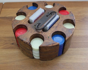 Vintage Poker Chip Caddy with Cards--Wood Poker Chip Caddy--Vintage Card Game