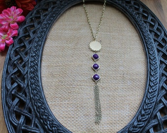 Tassel Necklace--Purple Bead and Gold Tassel Necklace--Handcrafted Necklace