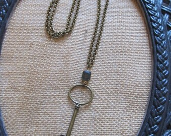 Vintage Necklace--Vintage Key and Stone Necklace