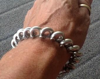 Vintage Sterling Silver Heavy Barrel Link Bracelet Wheat Cuff Bracelet Stamped 925 Jewelry